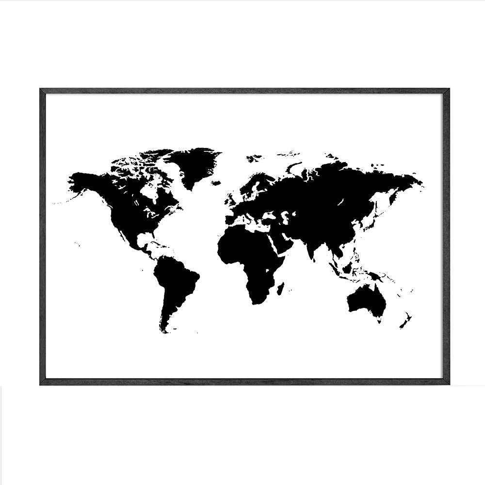 Nordic Decoration World Map in Black Ultra-Cheap Deals Art Canvas Wall White P and Spring new work