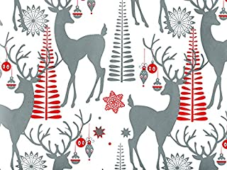 Metallic Silver Reindeer Deer Ornaments Christmas Gift Wrap Paper - 16 Foot Roll