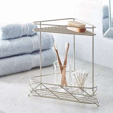 Free Standing Bathroom Corner Storage Shelves, 2-Tier, Satin
