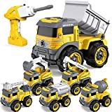 GizmoVine Excavadora Juguete,Control Remoto Tractor Desmontar y Ensamblarde Vehículo Construcciones Juguete , 6 en 1 Juguetes Playa niños para Niño...