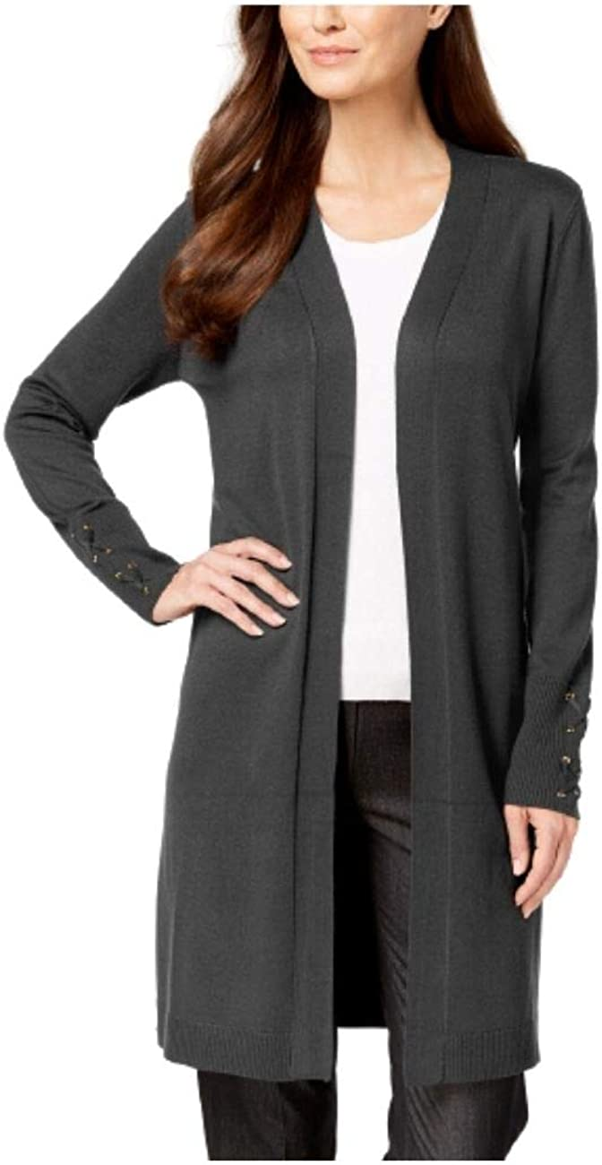JM Collection Lace-up-Sleeve Cardigan Charcoal Heather M