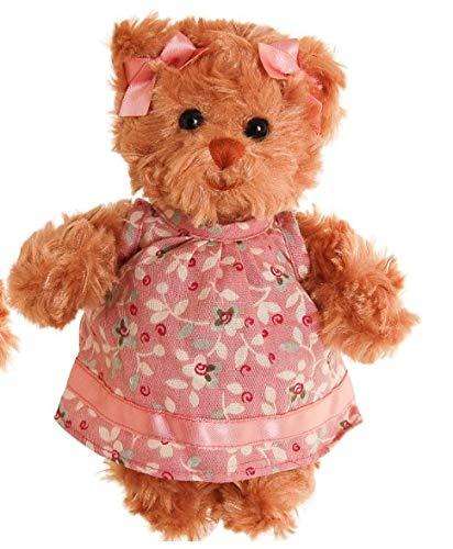 Bukowski Teddybär Hedvig braun/pink Blumenkleid 15 cm Plüschteddybär Kuscheltier Stofftier Plüschtier Baby Kind Spielzeug