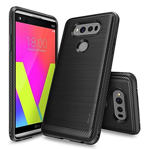 Ringke Onyx Compatible with LG V20 Case Brushed Metal Design Flexible & Slim Dynamic Stroked Line Pattern Durable Anti Slip Impact Shock Absorbent Case for LG V 20 - Black
