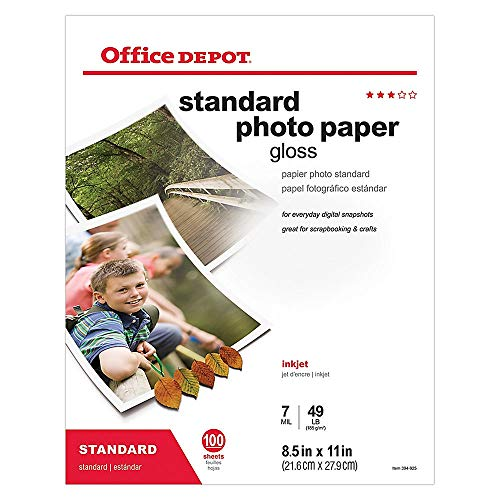 Office Depot Standard Photo Paper, Glossy, 8 1/2in. x 11in, 7 Mil, Pack Of 100 Sheets, 123434