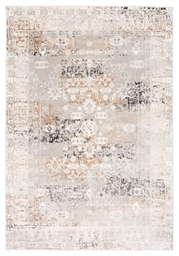 Carpeto Rugs Ethno Vintage Teppich - Kurzflor - Weich Teppich für Wohnzimmer, Schlafzimmer, Esszimmer - ÖKO-TEX Wohnzimmerteppich - Teppiche - Grau - 240 x 330 cm