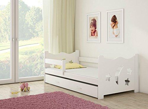 Clamaro \'Sternenhimmel\' 160 x 80 Kinderbett mit Rausfallschutz (8 Farben), Bett inkl. Matratze, Lattenrost und Unterbett Schublade auf Rollen und verstellbaren Seitenteil, Design: Weiß/Weiß