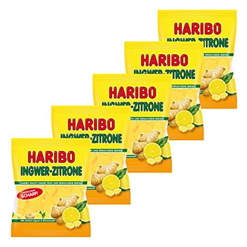 Haribo Ingwer-Zitrone, 5er Pack, Gummibärchen, Weingummi, Fruchtgummi, Im Beutel, Tüte