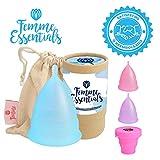 Femme Essentials Copa Menstrual + Bolsa de Algodón | 100% de Silicona Hipoalergénica para Uso Médico | Ecológica, Segura, Cómoda y Higiénica | Tamaño: Pequeño | Color: Azul