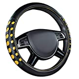 CAR PASS Bright Colorful Mirror Leather Sport Universal Steering Wheel Cover Double Layers Design Perfectly fit for suvs sedans Trucks Cars (Black and Yellow)