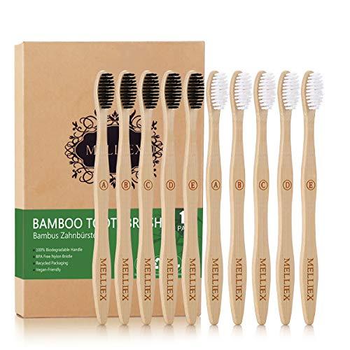 MELLIEX Lot de 10 Brosses à Dents en Bambou, à Poils Doux Moyens Biodégradable Écologique Végétalien Naturel Bois Brosses à Dents