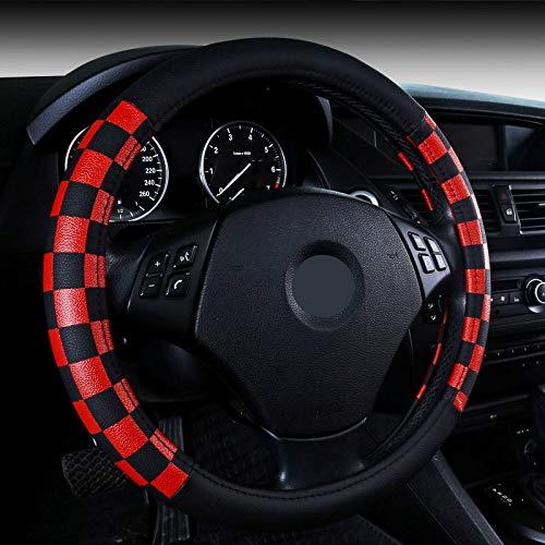 IENPAJNEPQN Sport-Auto-Lenkrad-Abdeckung PU-Leder 38cm Weiß Rot Braun Schwarz Golden Orange (Color : Red)