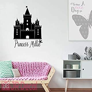 Princess castle Wall Stickers, vinyl Wall decal, personalised baby girls nursery sticker, Wall Sticker for girls, Nursery name stickers, castle stickers for wall