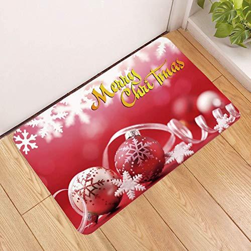 Deurmat tapijt, 3D-gedrukt Frohe Kerstmis Snow Ball antislip soft ingang tapijt mat, voetmat welkom slaapkamer hal tapijt rechthoekige deurmat voor Kerstmis Home Woonkamer 50×80cm