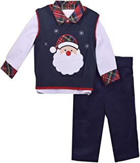 Boys 3-Pc Navy Outfit Christmas Santa Face Sweater Vest Plaid Shirt Pants Set