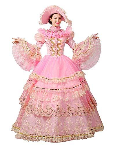 Rococo Barock Marie Antoinette Ballkleid 18. Jahrhundert Renaissance Historische Periode viktorianisches Kleid für Damen - - X-Large :Höhe 65-67 Bust 42-43 Taille 33.5-35