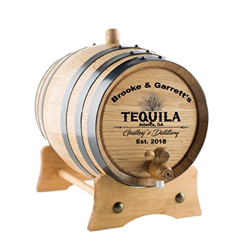 Personalized Tequila Oak Barrel   Custom Engraved American White Oak Aging Barrel - Age your own Tequila, Whiskey, Rum, Wine, Beer, Vinegar. (5 Liters)