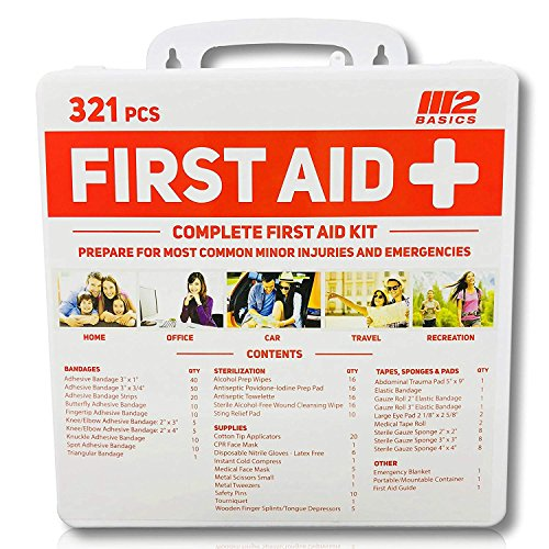 M2 BASICS 321 Piece Premium First Aid Kit w/Hard Case | Free First Aid Guide | Emergency Medical Supply | Home, Office, Outdoors, Car, Camping, Travel, Survival, Workplace