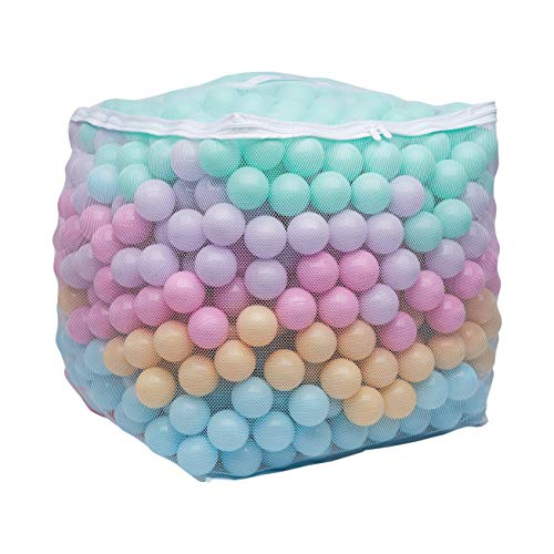 "Amazon Basics BPA Free Plastic Ball Pit Balls with Storage Bag, 1,000 ct (2.3"" Diameter), Pastels"