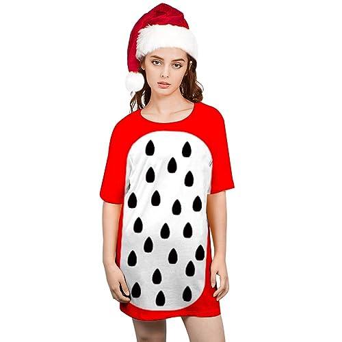2697879d6f2 Goodstoworld Women s T Shirt Dresses Christmas Party Fruit Print Casual  Sleepwear Short Sleeve Loose T-