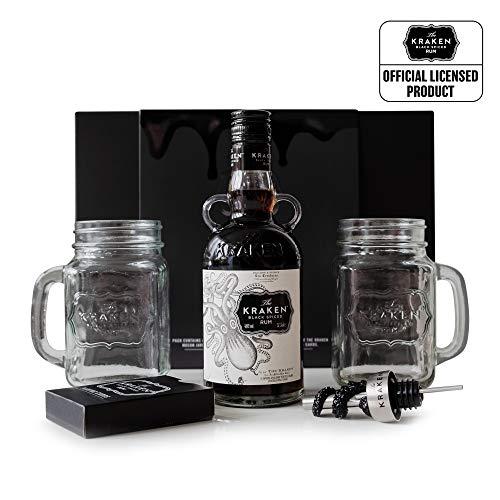 Kraken Black Spiced Rum Geschenkset   35 cl Flasche The Kraken Rum   2 x The Kraken Mason Jar Trinkgläser   Dekorativer Flaschenausgießer   Kraken Spielkarten   Rum Geschenk Set
