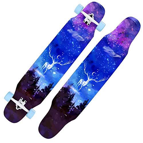 Skateboard Deck Volwassenen Kinderen Skateboard Complete Skateboard, vierwielige dubbele rocker weg borstel straat skateboard volwassen kinderen en adolescent beginner professionele esdoorn longboard flash scooter yiya