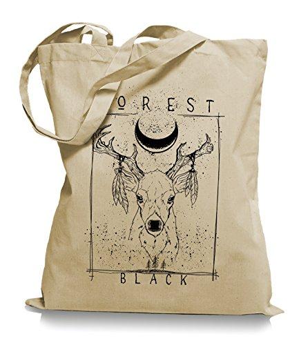 Ma2ca® Forrest Black Hirsch - Jutebeutel Stoffbeutel Tragetasche/Bag WM101-sand