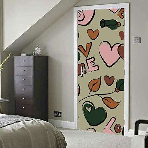 Bunte romantische Karikatur Nette Liebe Selbstklebende Vinyl Abnehmbare Badezimmer Aufkleber für Tür Tür Peel And Stick Wandbild 30x79 Zoll (77x200cm) 2 Stück