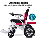 RDJM Deluxe Electric Wheelchair Motorized Fold Foldable Power Wheel Chair, Lightweight Folding Carry
