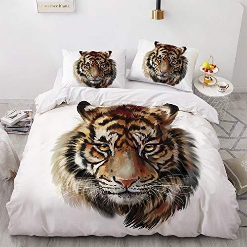 Mdsfe 3D Bedding Sets Black Duvet Quilt Cover Set Comforter Bed Linen Pillowcase King Queen 140x210cm Size Animal Tiger Design Printed - tiger005-White, Twin