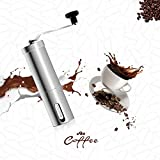 FWQPRA® Manual Coffee Grinder with Adjustable Setting - Conical Burr Mill & Brushed Stainless Steel Whole Bean Burr Coffee Grinder for Aeropress, Drip Coffee, Espresso, French Press, Turkish Brew