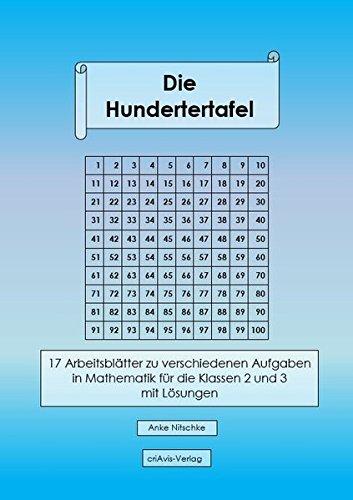 Die Hundertertafel: 17 Arbeitsblätter zu verschiedenen Aufgaben in Mathematik für die Klassen 2 und 3 mit Lösungen