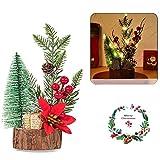 Guizu Mini Árbol de Navidad,Christmas Crafts Decoración Adornos De Mesa ,con luz...