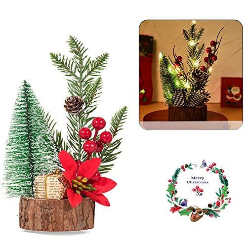 Guizu Mini �rbol de Navidad,Christmas Crafts Decoración Adornos De Mesa ,con luz LED,Adornos de Base de Madera para Mesas y Escritorios Decoración de Fiesta de Navidad para el Hogar(Estilo Aleatorio)