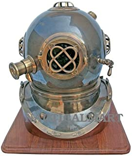 NauticalMart Antique U.S Navy Mark V Diving Divers Helmet with Stand
