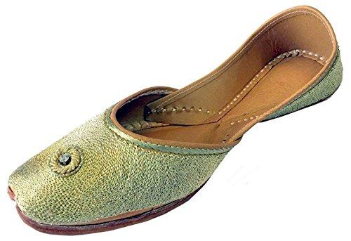 Schritt N Style Frauen Golden Zari Panjabi Jooti Khussa Schuhe Flach Sandalen Ballerina, Gold - goldfarben - Größe: 40
