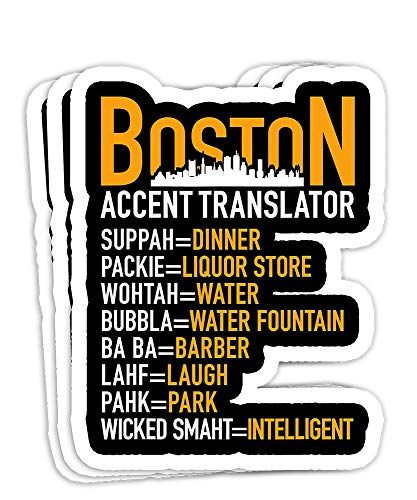 Wicked Smaht Boston Accent Translator Bostonians Gift Decorations - 4x3 Vinyl Stickers, Laptop Decal, Water Bottle Sticker (Set of 3)