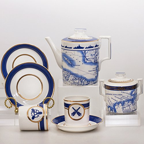 New Imperial/Lomonosov Porcelain 20-piece Tea Set for 6 Persons 'The Wardroom'