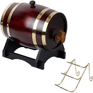 Whiskey Barrel 20L, Seau Décoratif en Chêne avec Robinet et Porte-Bouteilles, Approprié pour Conserver le Vin, le Miel, la...