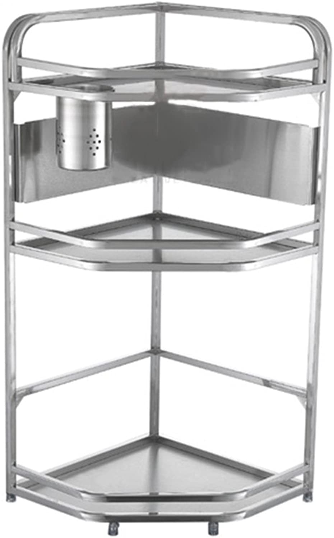 BJLWT 2 Tier Kitchen Storage Rack Stainless Steel,Triangular Corner Seasoning Spice Rack Kitchen Bathroom Home Shelf Organizer,Wall-Mounted Standing Racks Goods Racks (Size   24  24  64.6CM)