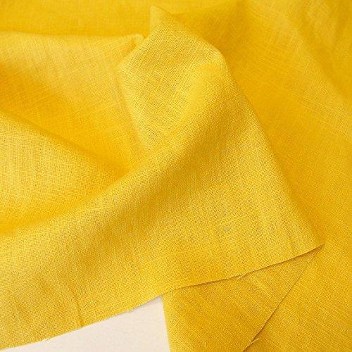 TOLKO 50cm Leinen-Stoff als Meterware | blickdichter Naturstoff | für Hose Rock Bluse Kleider Gewänder | fein gewebter Dekostoff für Vorhänge Gardinen und Dekorationen | 140cm breit (Gold-Gelb)