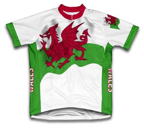 ScudoPro Wales Flag Maillot Cycliste à Manches Courtes pour Hommes -