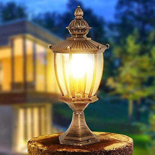 J-Réverbères Pilier Lampe jardin Outdoor Post Light jardin Lampe Colonne Rétro Villa Paysage Rue Éclairage décoratif Post Lumière (Color : Bronze)