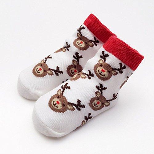 Weihnachtsmann Elch Winter Schnee Kinder Baumwollkindern Socken Großhandel Babysocken Handelkinder weiß 0-12M Weihnachtsdekoration, Weihnachten Festliche Atmosphäre