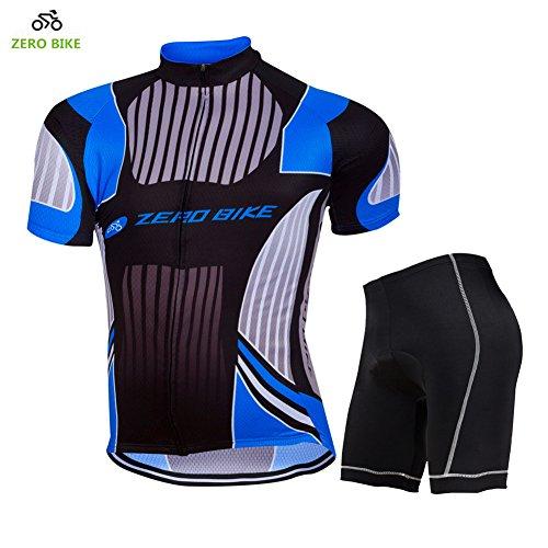 ZEROBIKE - Conjunto de Camiseta de Ciclismo para Hombre (Manga Corta, Transpirable, Acolchada, Transpirable, Secado rápido)