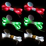 Novelty Place |3 Pairs| LED Light Up Shoelaces with 3 Modes for Party, Dancing, Running & DIY - 3 Pairs (Green, Red & White)