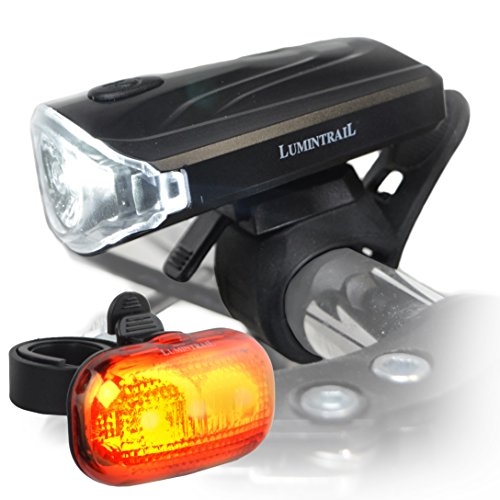 Lumintrail Bike Headlight Tail Light Weatherproof Lights Set Super Bright LED Easy Install Quick Release Batteries Included