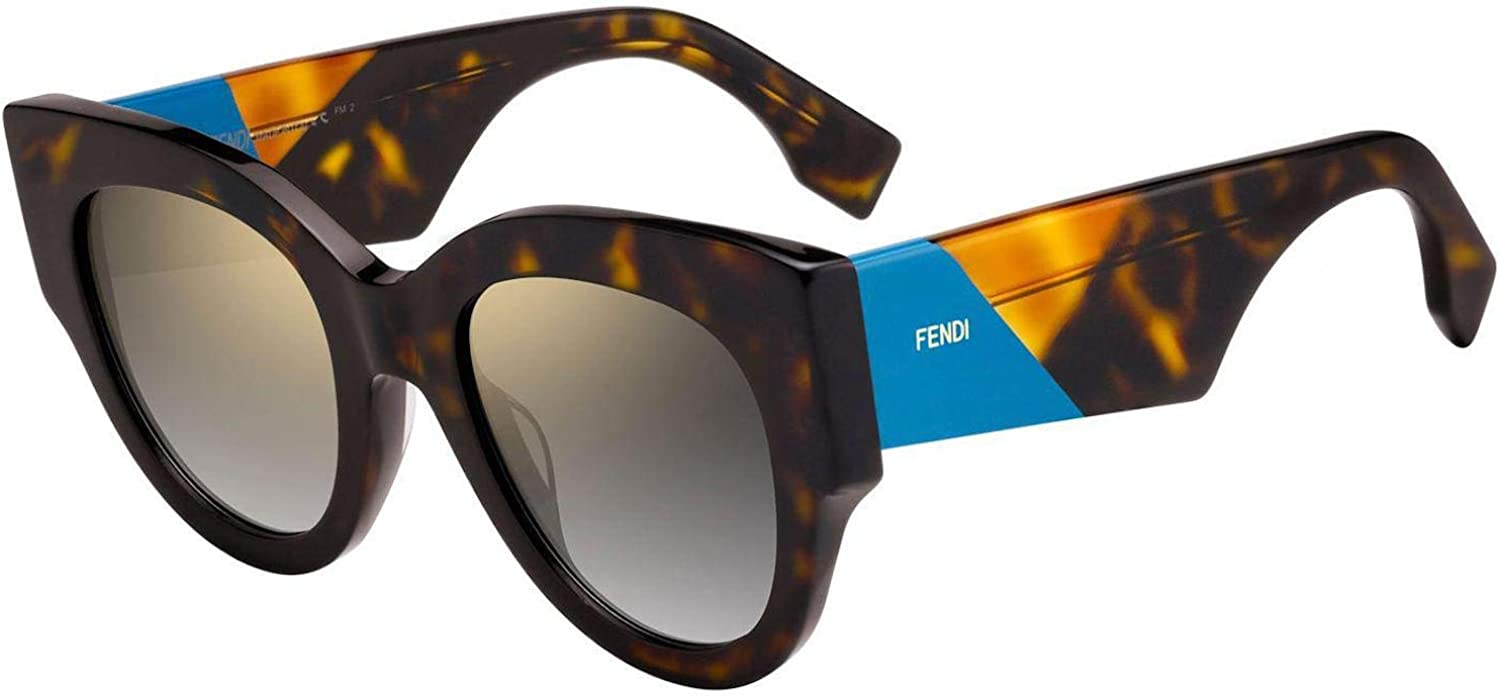 Fendi FF0264 S Sunglasses Havana bluee w gold Grey Gradient Mirror Lens 51mm 086FQ FF0264S FF 0264S FF 0264 S
