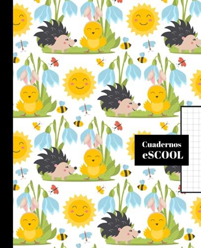 CUADERNO ESCOLAR: Cuaderno de hoja cuadriculada de 4 mm | Cuadrícula 4x4 | Tamaño especial para la mochila | Diseño de portada de erizos y pollitos
