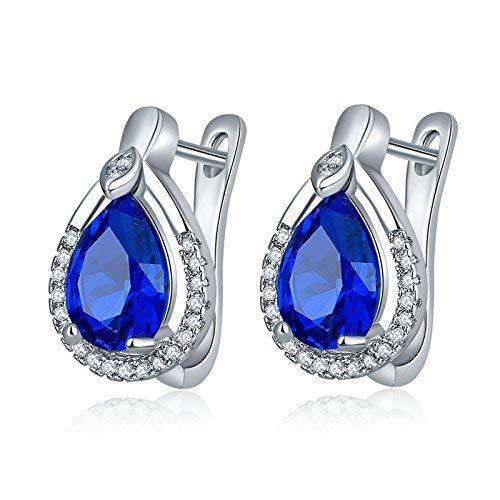 Ohrringe Ohrclips eingesetzt Zirkon Mädchen Ohrringe Antiallergische Kristalltröpfchen Mädchen Ohrringe Königsblau