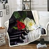 Erosebridal 3D Rose Flower Throw Blanket Piano Sherpa Blanket Classical Music Flannel Blanket Romantic Warm Fuzzy Blanket for Lover Trendy Sherpa Blanket for Dorm Guest Room Decorative Throw